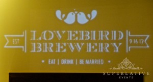 monogram design rental gobo light projection lovebird brewery whitehall manor bluemont va