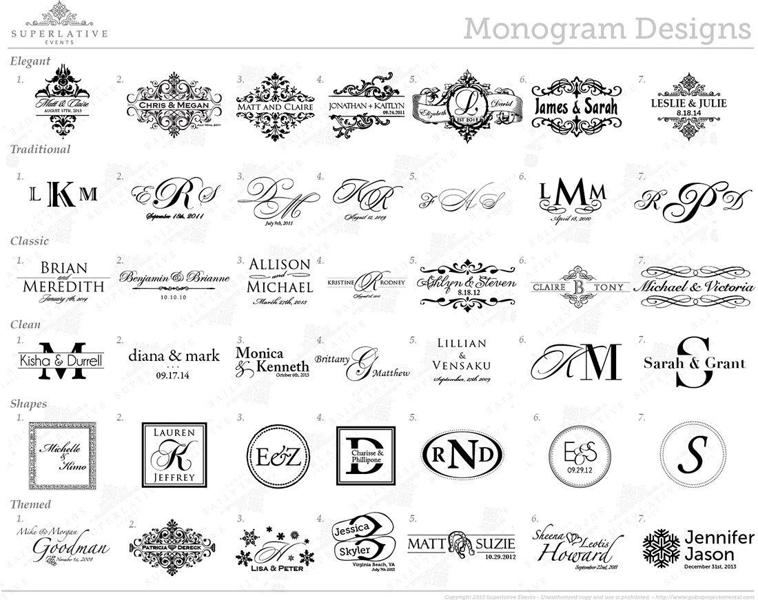 Superlative Events Wedding Monogram Transparency