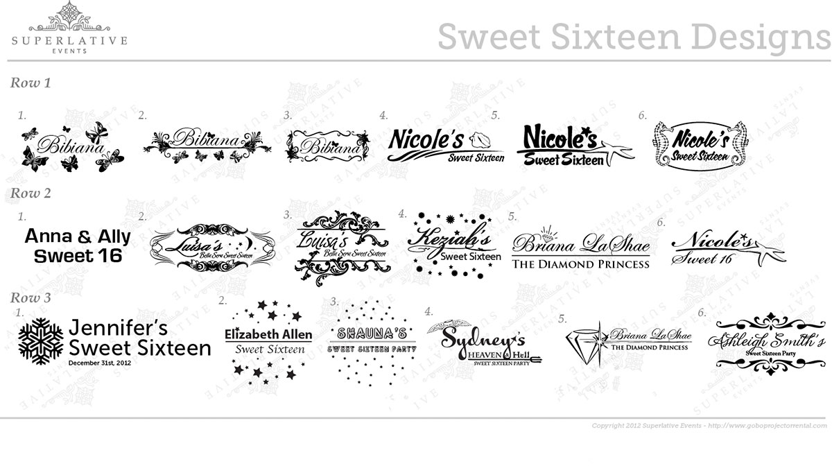 Superlative Events Sweet Sixteen Transparency