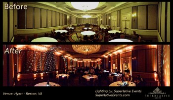 reston hyatt before and after wedding lighting