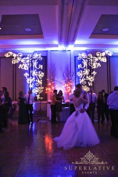First dance at a wedding reston hyatt regency with uplighting.