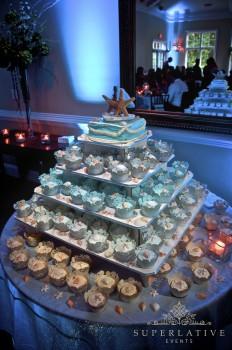 Beach Themed Cupcake Display With Cupcake Spotlights
